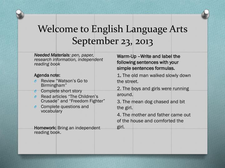 welcome to english language arts september 23 2013 n.