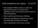 faith transforms our values 11 23 296