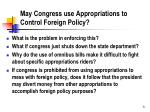 may congress use appropriations to control foreign policy