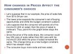 how changes in prices affect the consumer s choices