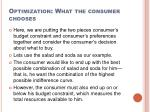 optimization what the consumer chooses