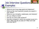 job interview questions examples