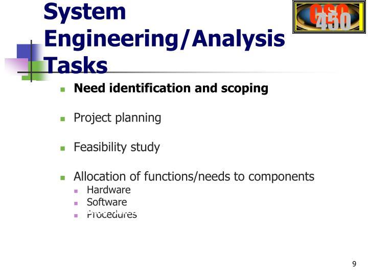 System Engineering/Analysis Tasks