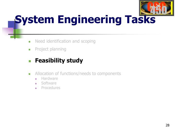 System Engineering Tasks