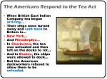 the americans respond to the tea act