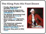 the king puts his foot down