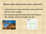 where did cattle drives start and end