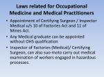 laws related for occupational medicine and medical practitioners