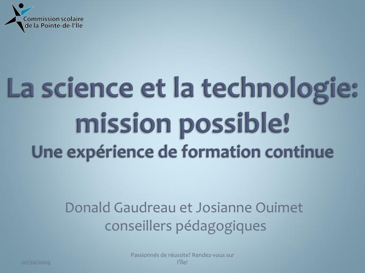 la science et la technologie mission possible une exp rience de formation continue n.