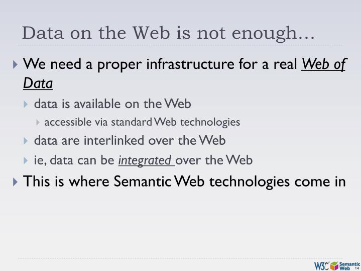 Data on the Web is not enough…