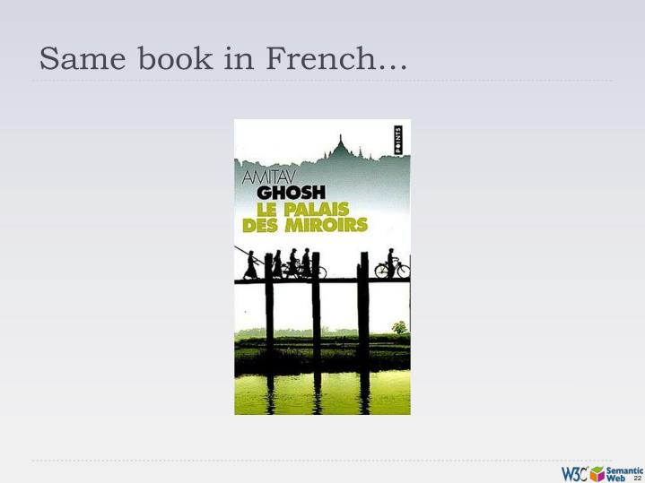 Same book in French…
