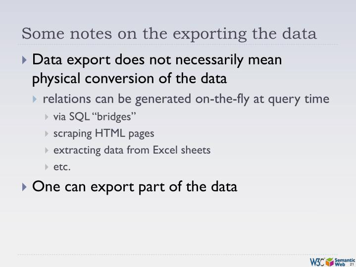 Some notes on the exporting the data