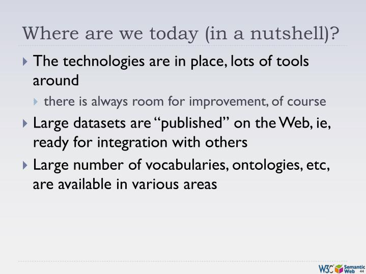 Where are we today (in a nutshell)?
