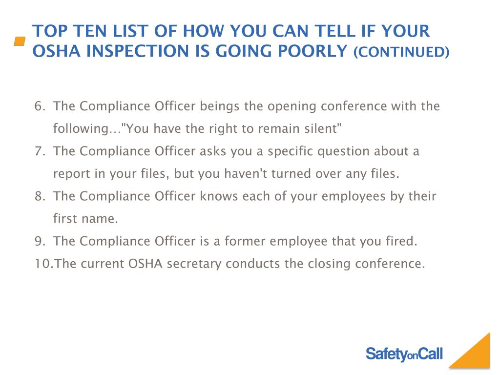 PPT - OSHA Inspections - How to Prepare and Handle Them