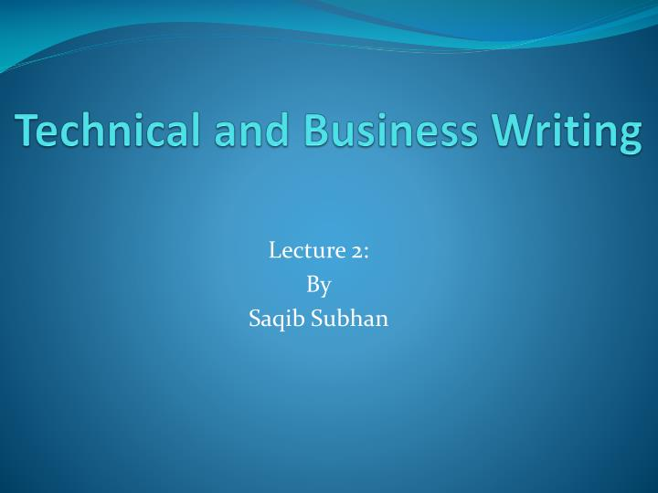 technical and business writing n.