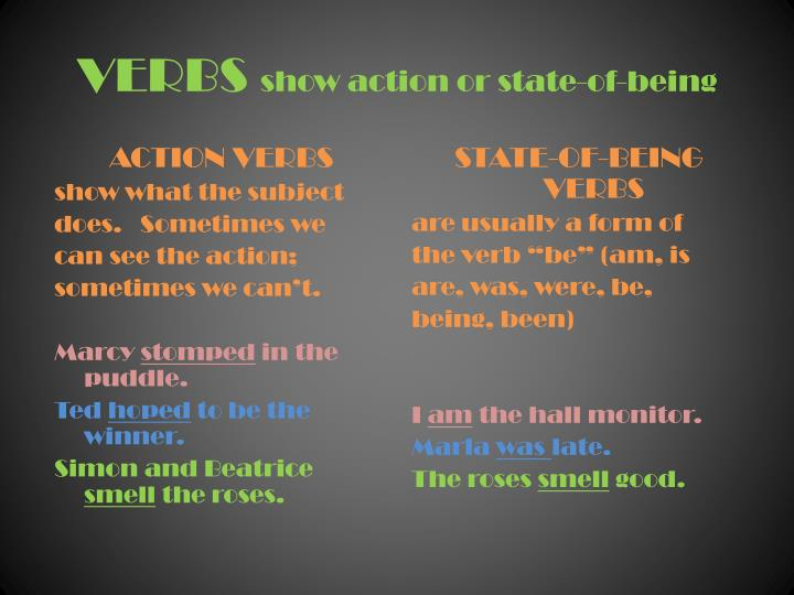 verbs show action or state of being n.