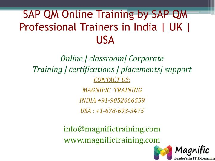 sap qm online training by sap qm professional trainers in india uk usa n.