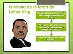principio de la fama de luther king
