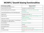 mcnpx geant4 biasing functionalities