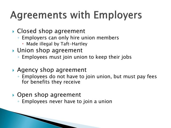 Ppt chapter 12 employee management issues powerpoint presentation agreements with employers closed shop agreement platinumwayz