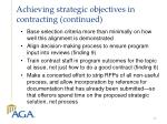 achieving strategic objectives in contracting continued