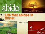 life that abides in christ
