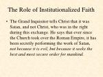 the role of institutionalized faith