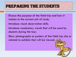 preparing the students