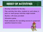 sheet of activities
