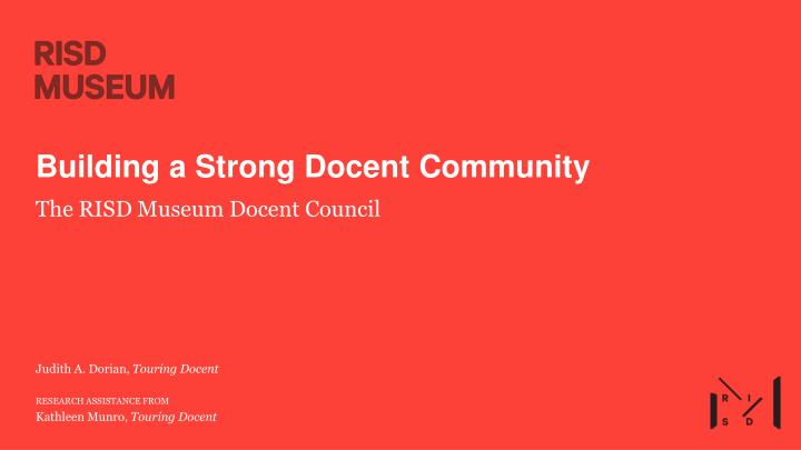 building a strong docent community n.