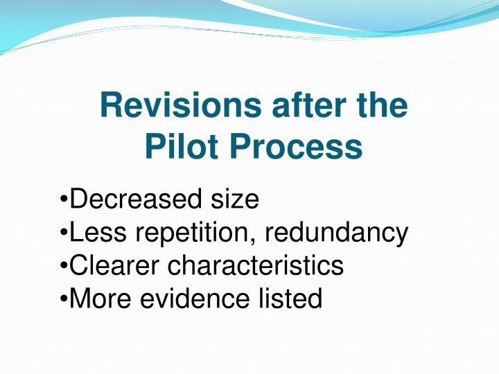 Revisions after the           Pilot Process