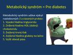metabolick syndr m pre diabetes