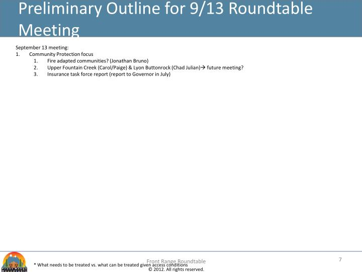 Preliminary Outline for 9/13 Roundtable Meeting