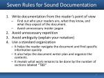 seven rules for sound documentation