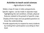 activities to teach social sciences agriculture in india