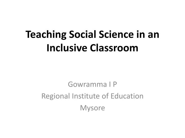 teaching social science in an inclusive classroom n.
