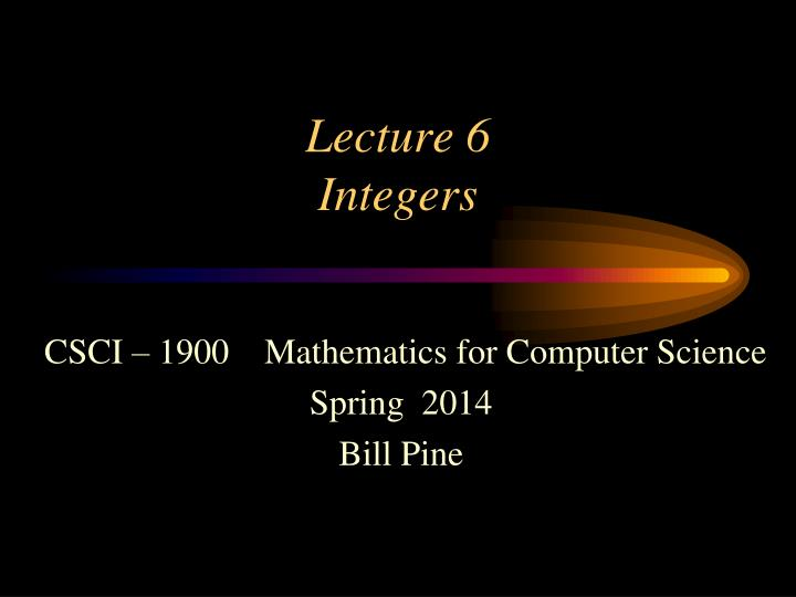 lecture 6 integers n.