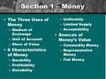 section 1 money