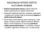 nacionalni interes za tite kulturnih dobara