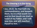 the blessing is in the doing1