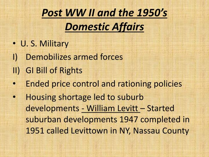post ww ii and the 1950 s domestic affairs n.