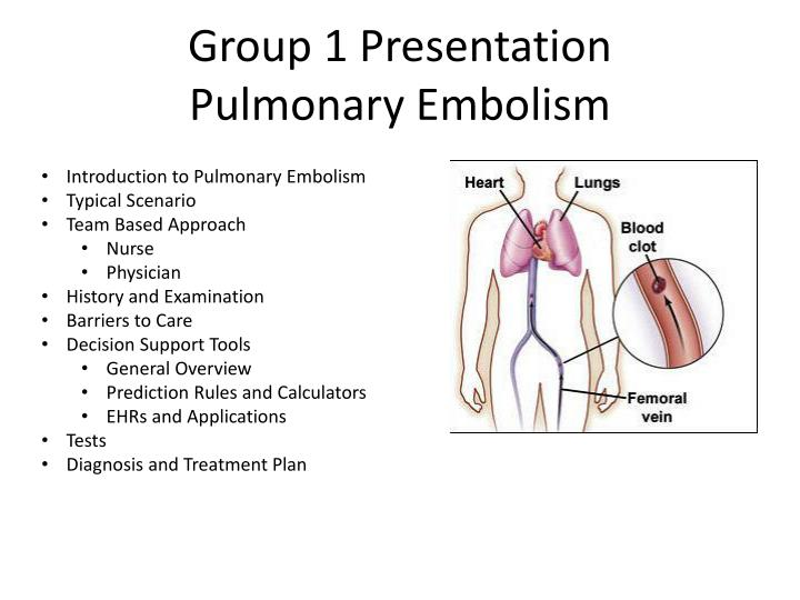 group 1 presentation pulmonary embolism n.
