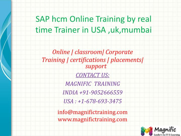 sap hcm online training by real time trainer in usa uk mumbai n.