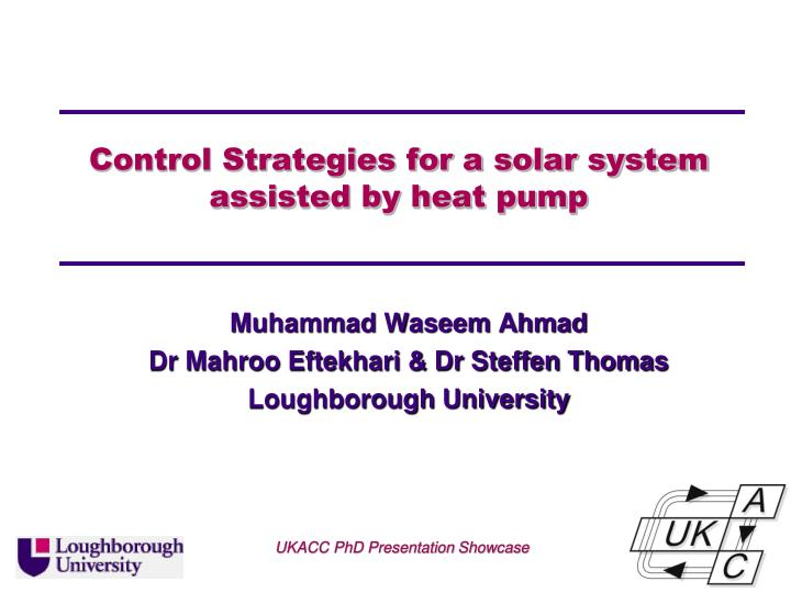 control strategies for a solar system assisted by heat pump n.