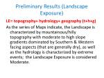 preliminary results landscape exposure