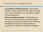 control of the supply chain