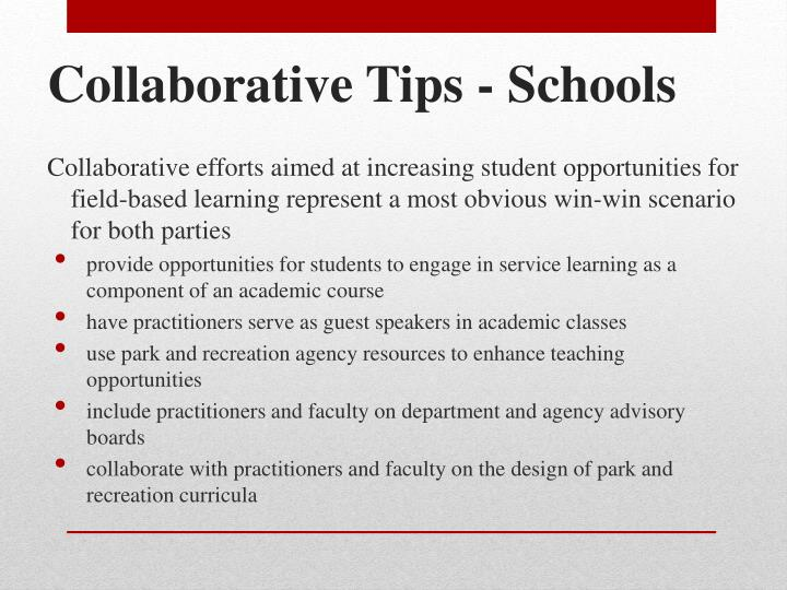 Collaborative Tips - Schools