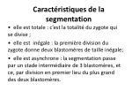 caract ristiques de la segmentation
