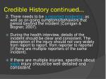 credible history continued