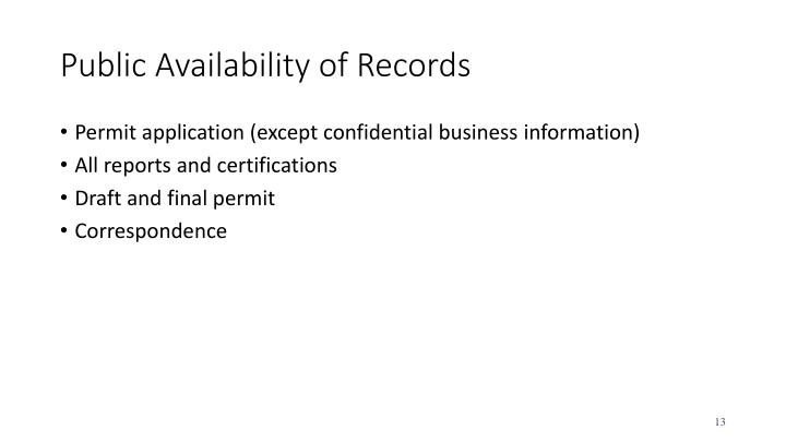 Public Availability of Records
